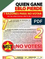 Boletin Especial MST - 7 razones para no votar en las elecciones del 6 de noviembre
