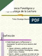 Conciencia Fonológica y Aprendizaje de la Lectura