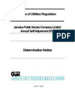 OUR-JPS Annual Tariff Adjustment 2012, Determination Notice