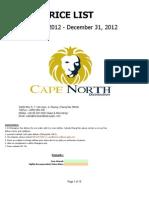 Wine List Cape North Distribution 2012