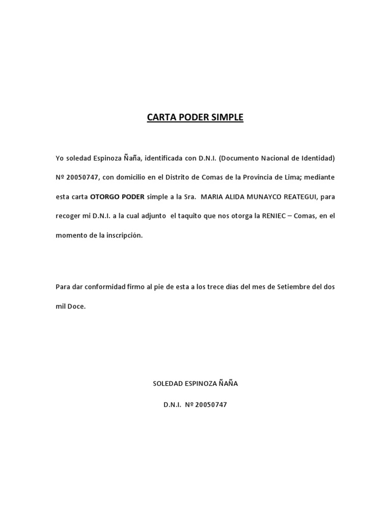 Carta poder simple for Solicitud de chequera