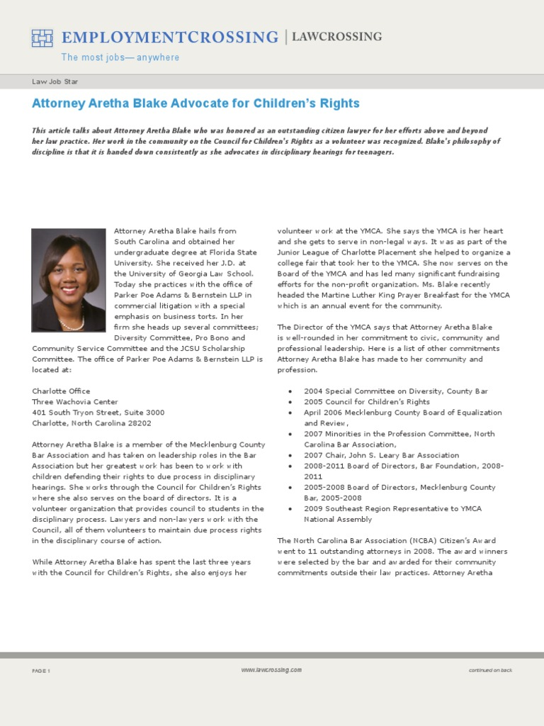 Attorney Aretha Blake Advocate For Childrens Rights