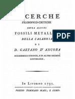 G. D'Ancora, Ricerche filosofico-critiche sopra alcuni fossili metallici di Calabria, 1791