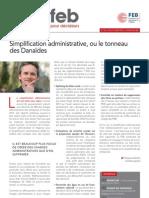 Simplification administrative ou le tonneau des Danaïdes, Infor FEB 32, 18 octobre 2012