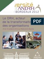 UNIVERSITE DE L'ANDRH 2012