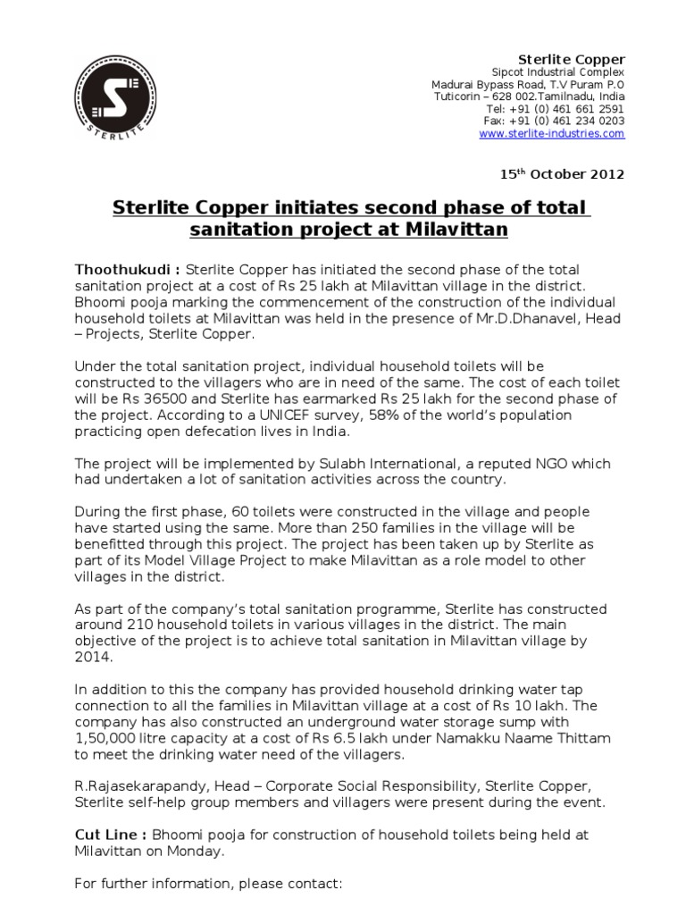 Sterlite Copper initiates second phase of total sanitation project ...