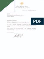 Carta Felicitación Presidente Colombia
