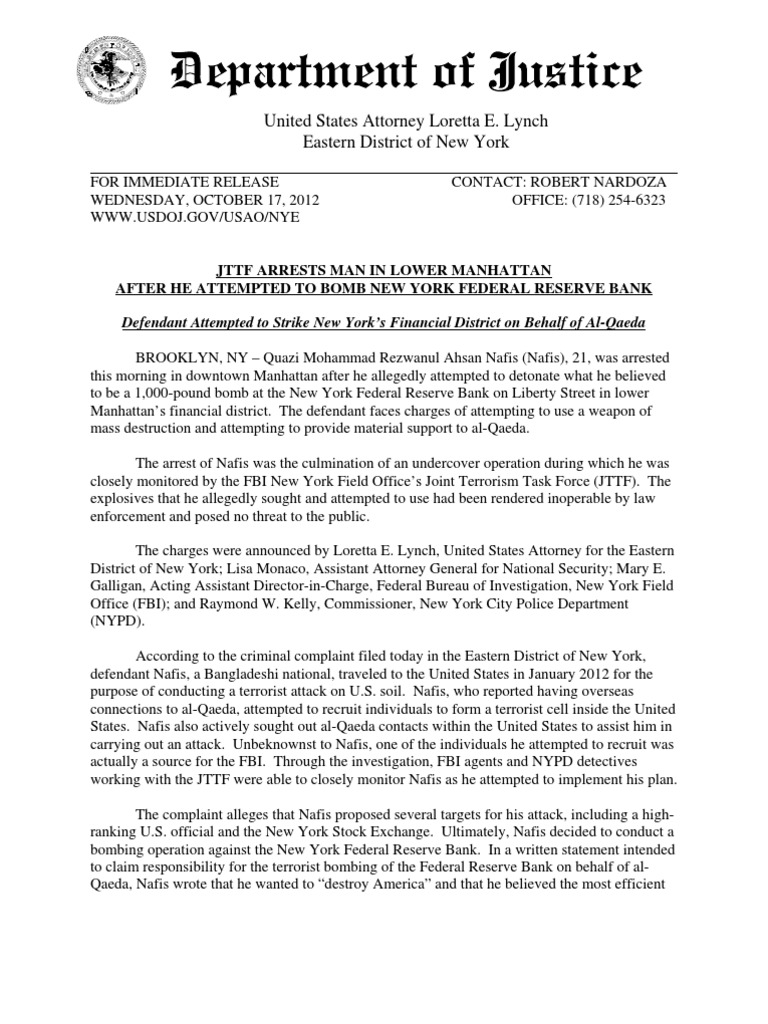 Department of Justice statement | Joint Terrorism Task Force