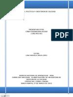 TALLER 2. POLÍTICA Y OBJETIVOS DE CALIDAD