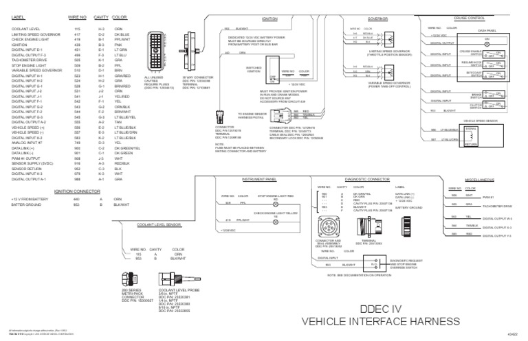 ddec iv oem wiring diagram  manufactured goods  machines