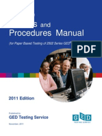 GED Testing Policies & Procedures Manual (2011)