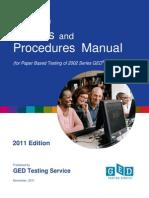 GED Testing Policies & Procedures Manual (2011)