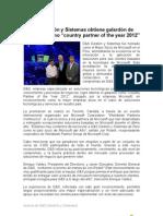 """G&S Gestión y Sistemas obtiene galardón de microsoft como """"country partner of the year 2012"""""""