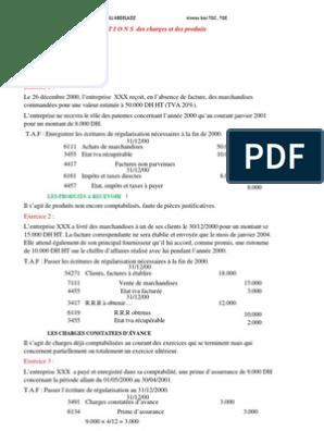 Exercice Corrige Regularisation Des Charges Et Pdts Taxe Sur La Valeur Ajoutee Facture
