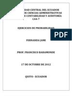 Ejercicios de Probabilidad Fernanda Jami