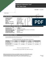 Sample Score Report 2009