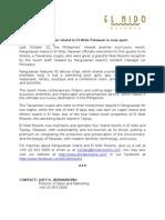 El Nido Resorts Press Release - Pangulasian Island in El Nido Palawan is Now Open