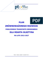 Planu zrównoważonego rozwoju publicznego transportu zbiorowego dla Miasta Olsztyna na lata 2012 – 2027