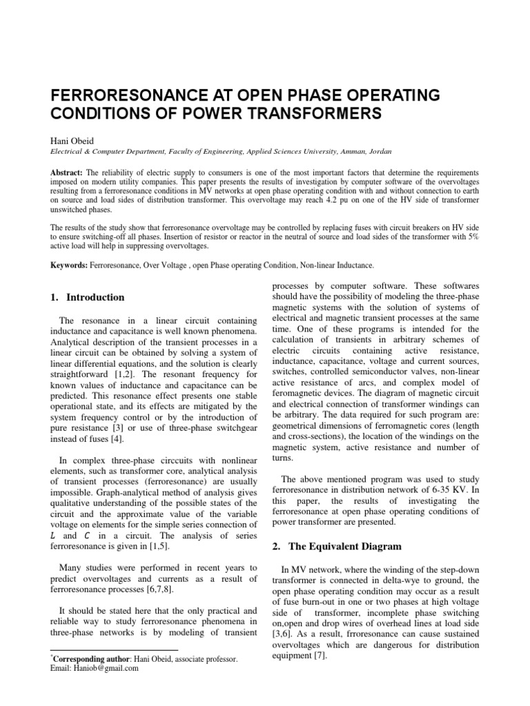 Ferroresonance At Open Phase Operating Conditions Transformer Overhead Wiring Diagram Electrical Network