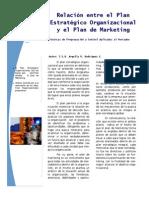 Relacion entre el Plan Estratégico Organizacional y el Plan de Marketing