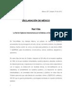 DECLARACION Foro Internacional del Agua MEXICO 2012 Red Vida