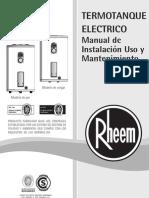 Manual Termotanques Rheem - Linea Electrica