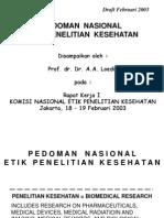 Pedoman Nasional Etik Penelitian Kesehatan