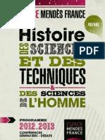 Programme 2012 - 2013 d'histoire des sciences