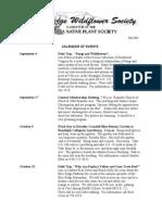 Fall 2010 Blue Ridge Wild Flower Society Newsletter