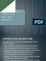 3.Sintak Dasar Operator Matlab