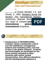 Global, Multinational International, And Transnational Companies