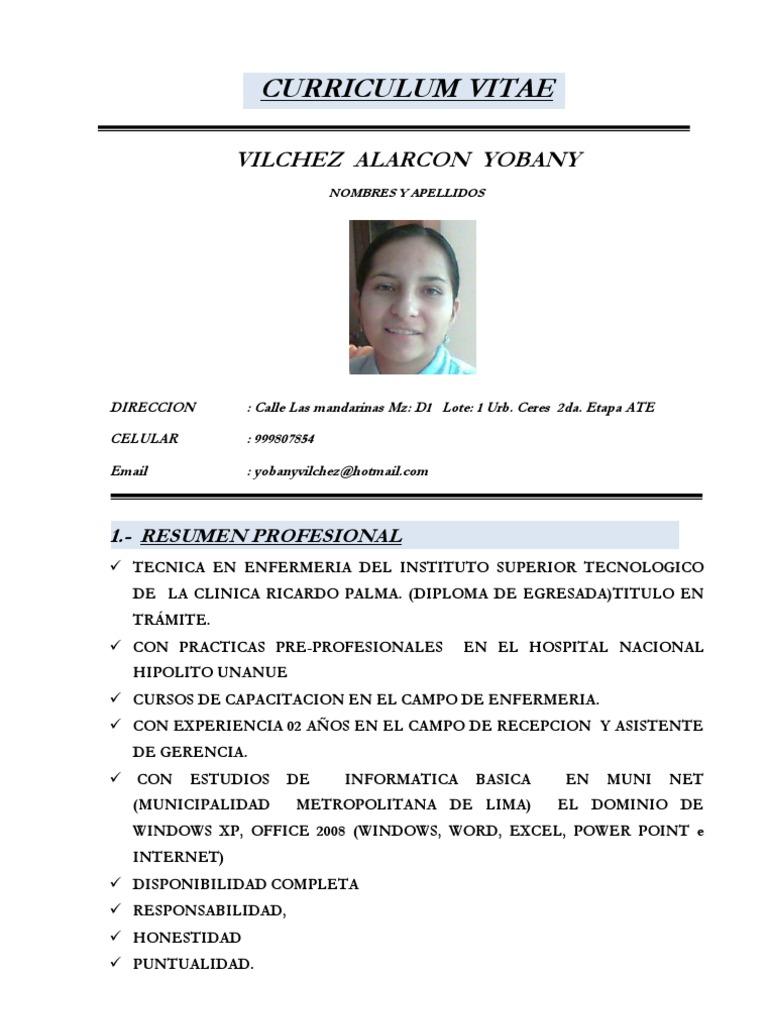 Magnífico Curriculum Vitae De La Enfermera En La Uci Regalo ...