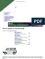 SWOT Analysis of Maruti Suzuki