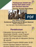 Dampak Pelaksanaan WASH dan Implementasi Dana BOS untuk Program Sanitasi Sekolah di Kabupaten Sorong Papua Barat