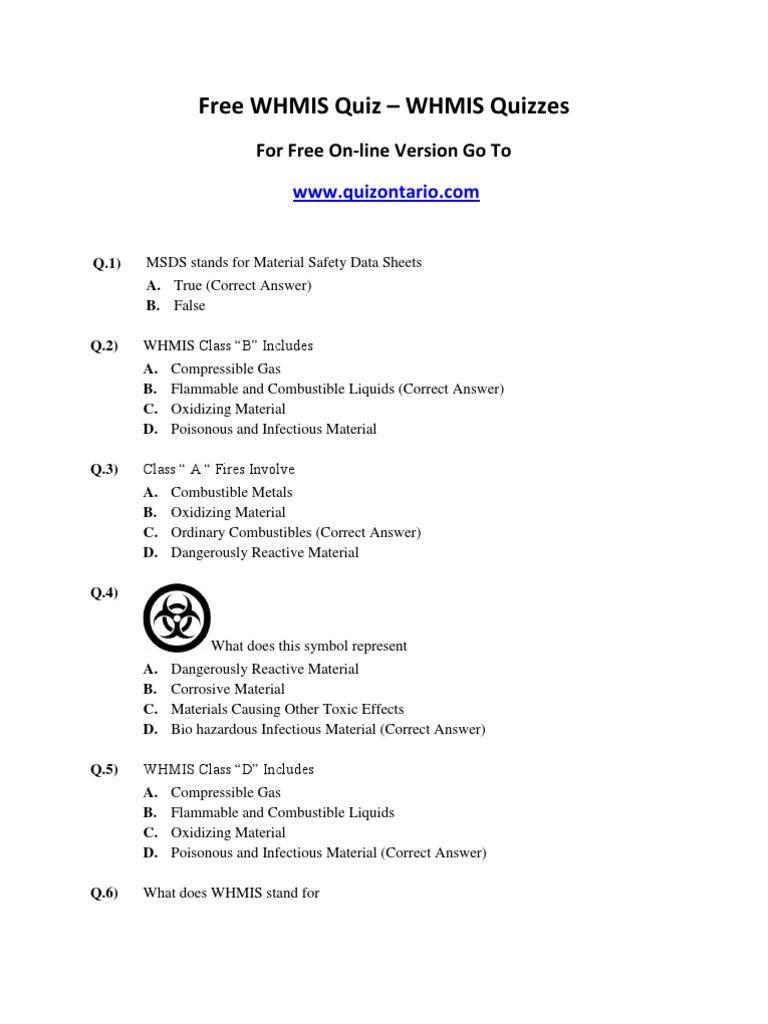 Free WHMIS Quiz – WHMIS Quizzes