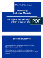 Promoting Inclusive Markets - The opportunity and importance  of CSR in supply chains