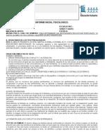 Educacion Especial Ejemplo Informe Psicologico 2012
