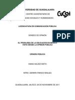 Opinión de la  Educación Pública en Guadalajara, Jalisco