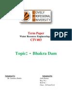 Bhakra Dam Term Paper