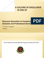 Resource Generation for Sustainable Research, Extension and Professional Services in One UP