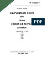 Tm 43-0001-31. Equipment Data Sheets for Tarcom Equipment