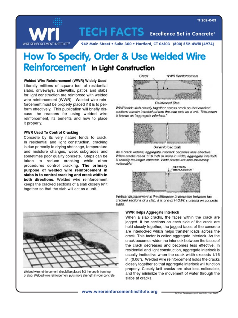 Articles from Wire Reinforcement Institute | Strength Of Materials ...