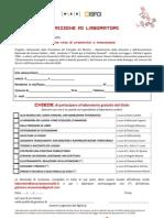 Modulo di iscrizione laboratori Tela di Aracne