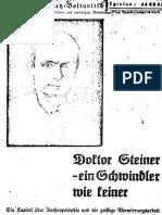 Schwartz-Bostunitsch, Gregor - Doktor Steiner, ein Schwindler wie Keiner; Deutscher Volksverlag, 1930