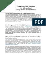International Student FAQ