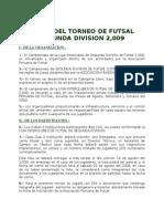 Bases Futsal Segunda Division 2009