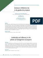 Liderança e influencia nas fases da gestão de projetos