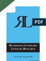 Actes de Recherche Littéraire Vol. 26