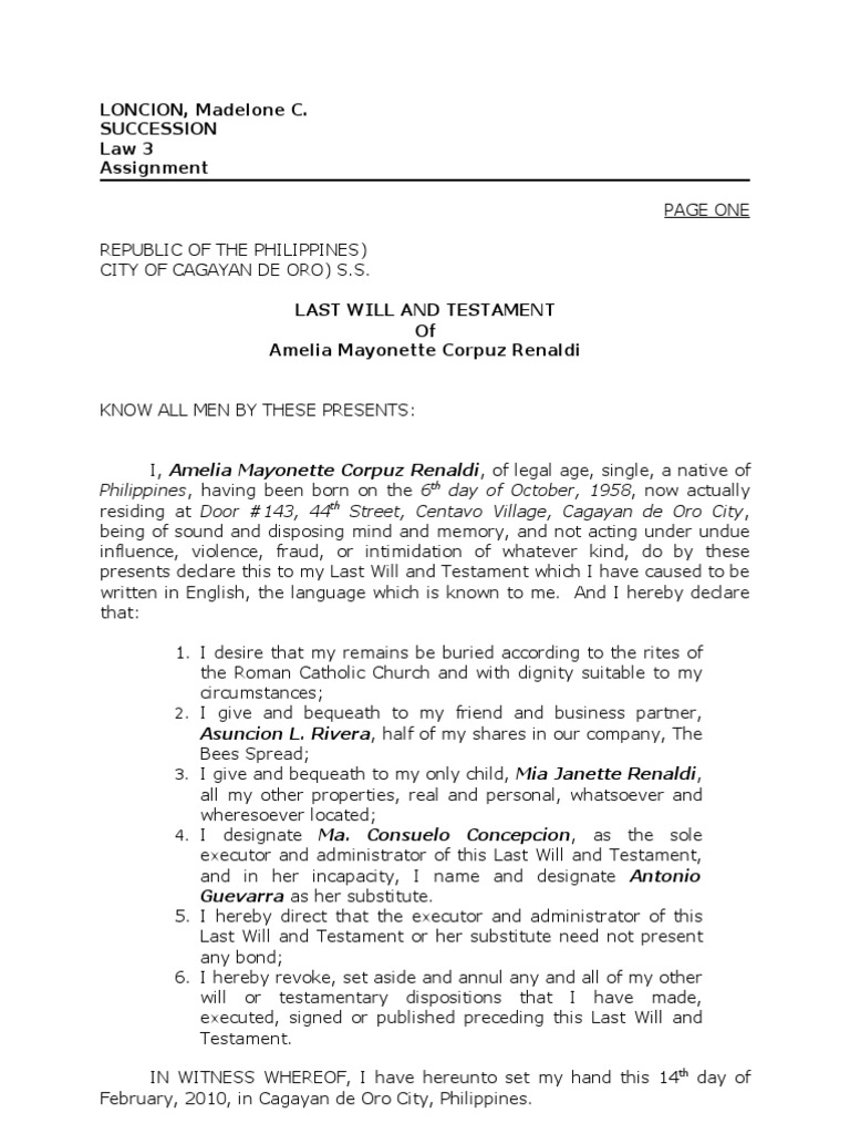 Sample Of Notarial Will Will And Testament Property Law - Free last will and testament template microsoft word