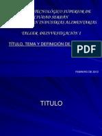 1 Título, Tema y Problema